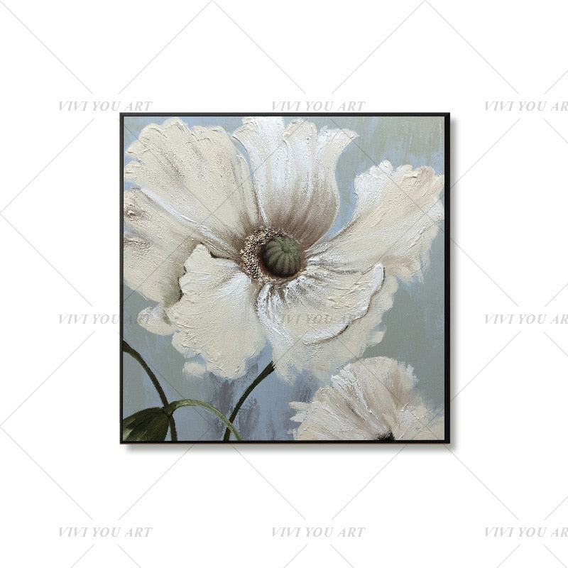 100% Hand Painted  Big White Flower Abstract Modern Art Picture For Living Room Modern Cuadros Canvas Art High Quality