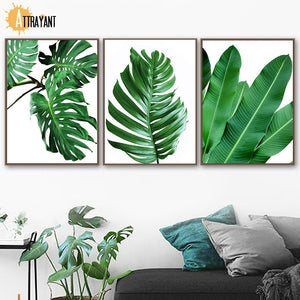 Monstera Fresh Banana Leaf Mountain Quote Wall Art Canvas Painting Nordic Posters And Prints Wall Pictures For Living Room Decor - SallyHomey Life's Beautiful