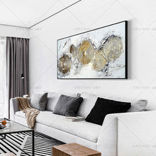 Load image into Gallery viewer, 100% Hand Painted Gold Circle Abstract Painting  Modern Art Picture For Living Room Modern Cuadros Canvas Art High Quality
