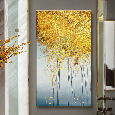 100% Hand Painted Abstract Golden Trees Painting On Canvas Wall Art Frameless Picture Decoration For Live Room Home Decor Gift - SallyHomey Life's Beautiful