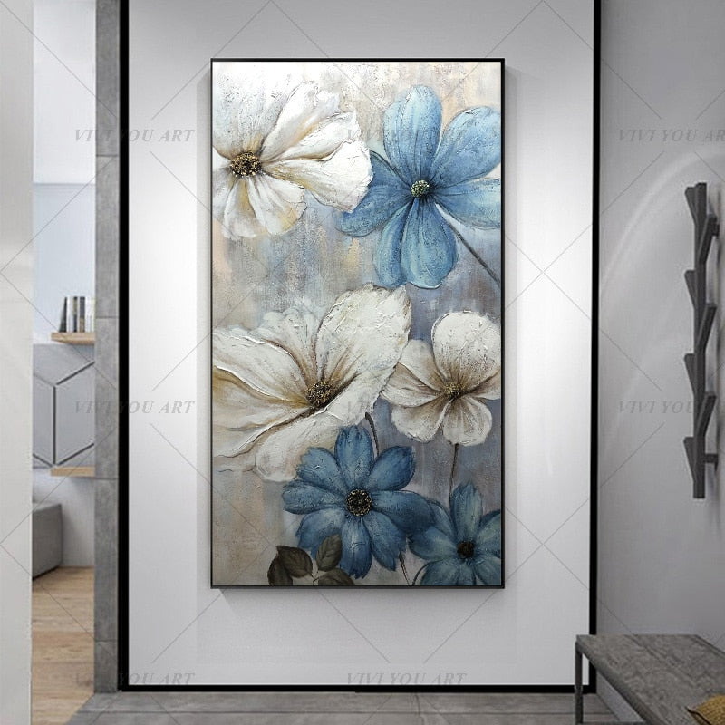 100% Hand Painted  White Blue Flowers Abstract Painting  Modern Art Picture For Living Room Modern Cuadros Canvas Art High Quality