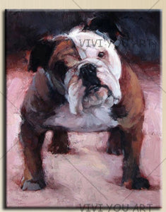 100% Hand Painted  English Bulldog Oil Painting Art Wall Pictures On Canvas Modern Home Decorative Art For Living Room Thick Oil Paint