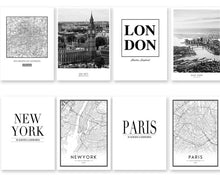 Load image into Gallery viewer, Modern New York London Paris City Map Wall Art Picture For Living Room Black and White Posters and Prints Home Decor - SallyHomey Life's Beautiful