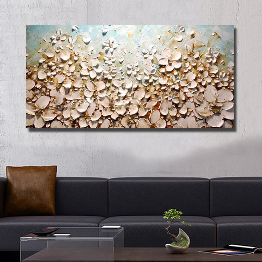 POP Modern 100% Handmade oil Painting Pictures on the Wall art Decoration Abstract Oil Painting on Canvas thick oil flowers - SallyHomey Life's Beautiful