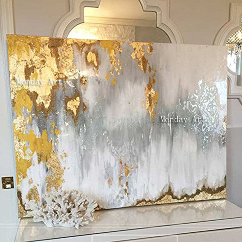 🔥Big size Handmade thick knife abstract oil painting Gold Gray White - SallyHomey Life's Beautiful