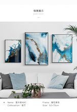 Load image into Gallery viewer, Nordic Abstract color spalsh blue golden canvas painting poster and print unique decor wall art pictures for living room bedroom - SallyHomey Life's Beautiful