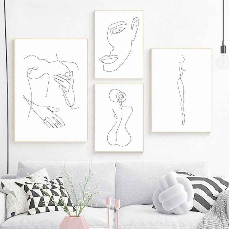 🔥 Abstract - Minimalist Nude Woman Body From Back Art Painting Home Decoration - SallyHomey Life's Beautiful