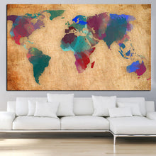 Load image into Gallery viewer, Abstract 3D Watercolor World Map Canvas Painting Retro Globe Maps HD Print On Canvas for Office Room Wall Picture Cuadros Decor - SallyHomey Life's Beautiful