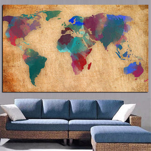 Abstract 3D Watercolor World Map Canvas Painting Retro Globe Maps HD Print On Canvas for Office Room Wall Picture Cuadros Decor - SallyHomey Life's Beautiful