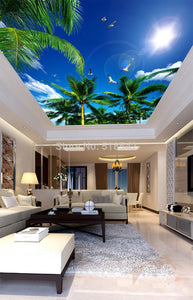 Blue Sky And White Clouds Coconut Trees Seagull for your  Ceiling - SallyHomey Life's Beautiful