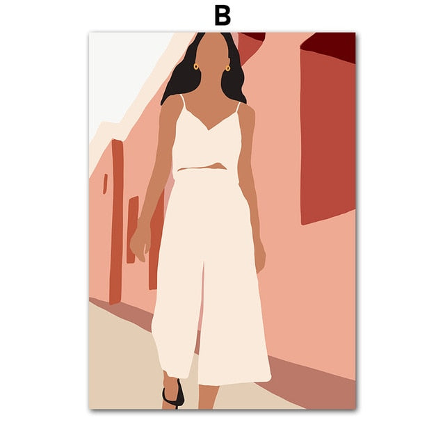 Fashion Girl Abstract Vintage Poster Canvas Print Minimalist Wall Art Decoration