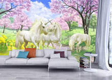 Load image into Gallery viewer, Custom 3D Mural Wallpaper Unicorn Dream Cherry Blossom TV Background Wall Pictures For Kids Room Bedroom Living Room Wallpaper - SallyHomey Life's Beautiful