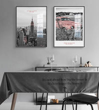 Load image into Gallery viewer, Nordic NEW YORK Black White building Wall Art Canvas Poster and Print Pink Car Canvas for Living Room Morden landscape Decor - SallyHomey Life's Beautiful