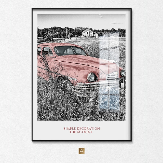 Nordic NEW YORK Black White building Wall Art Canvas Poster and Print Pink Car Canvas for Living Room Morden landscape Decor - SallyHomey Life's Beautiful