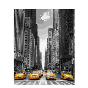 New York Street Landscape DIY Digital Painting By Numbers Modern Wall Art Canvas Painting Christmas Unique Gift Home Decor 40x50 - SallyHomey Life's Beautiful