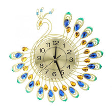 Load image into Gallery viewer, Large 3D Gold Diamond Peacock Wall Clock - SallyHomey Life's Beautiful
