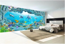 Load image into Gallery viewer, Custom photo mural 3d wallpaper picture world dolphin 3D sea aquarium decor painting 3d wall mural wallpaper for walls 3 d - SallyHomey Life's Beautiful