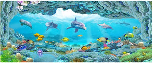 Custom photo mural 3d wallpaper picture world dolphin 3D sea aquarium decor painting 3d wall mural wallpaper for walls 3 d - SallyHomey Life's Beautiful