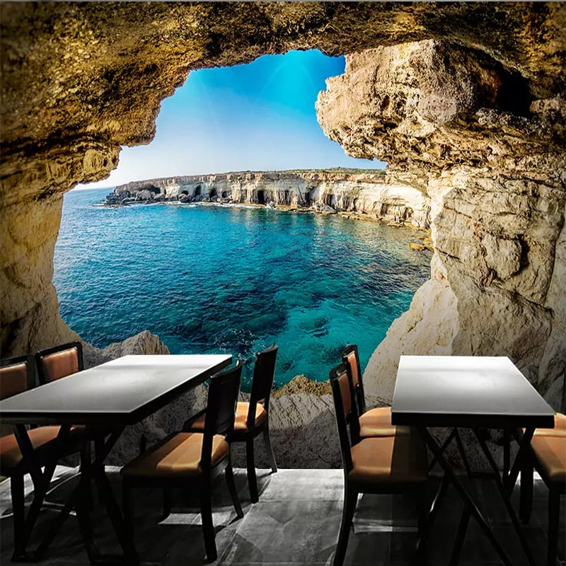 Custom Photo Wallpaper 3D Cave Seascape Mural Modern Living Room Sofa TV Background Wall Painting Wall Papers Home Decor Picture - SallyHomey Life's Beautiful