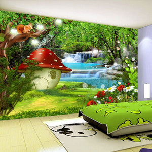 Custom Mural Wallpaper Waterproof Papel De Parede 3D Kids Room Baby Bedroom Background Wall Green Forest Picture Decor Painting - SallyHomey Life's Beautiful