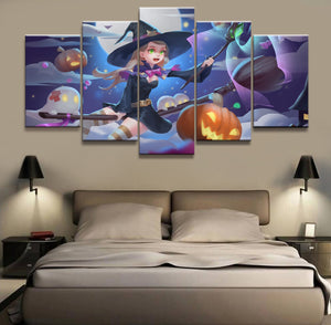 5 Panel Halloween Goddess Animation Canvas Printed Painting - SallyHomey Life's Beautiful