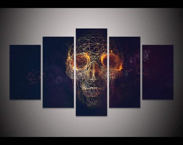 New 5 Pieces/sets Canva Geometric Skull Face Halloween  Canvas Paintings Decorations For Home Wall Art Prints Canvas \C-123 - SallyHomey Life's Beautiful
