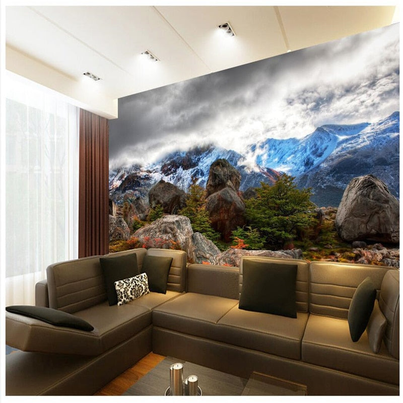 3D  Snowy Mountains Clouds Stone  for Living Room wall papers home decor - SallyHomey Life's Beautiful