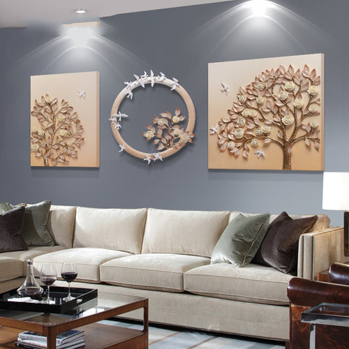 Luxury Decoration Modern Resin Creative 3D Tree Embossed Painting - SallyHomey Life's Beautiful