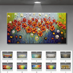 Beautiful flowers for home decorations 100% Handmade abstract canvas oil Paintings wall art Pictures for living  room no framed - SallyHomey Life's Beautiful