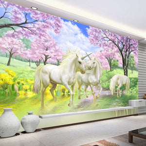 Custom 3D Mural Wallpaper Unicorn Dream Cherry Blossom TV Background Wall Pictures For Kids Room Bedroom Living Room Wallpaper - SallyHomey Life's Beautiful