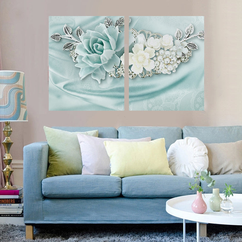 2 Panel Home Decor Pictures 3D Flower Wall Art Posters and Prints Wall Picture for Living Room HD Canvas Print Paintings HY149 - SallyHomey Life's Beautiful