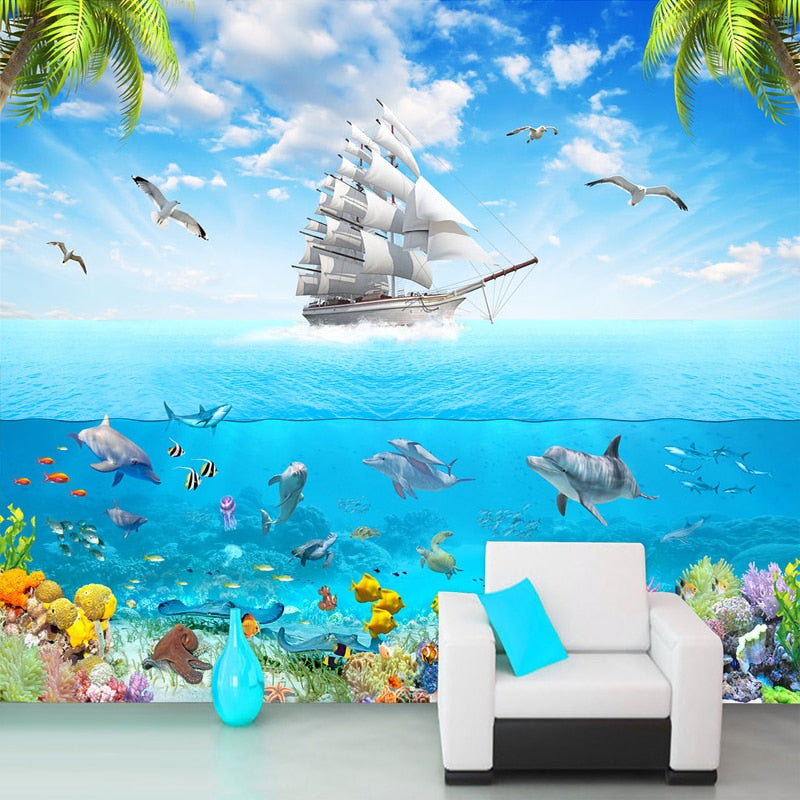 Custom Photo Wallpaper Sailing Dolphin 3D Underwater World Cartoon Picture Living Room Children Bedroom Decoration Wall Mural - SallyHomey Life's Beautiful