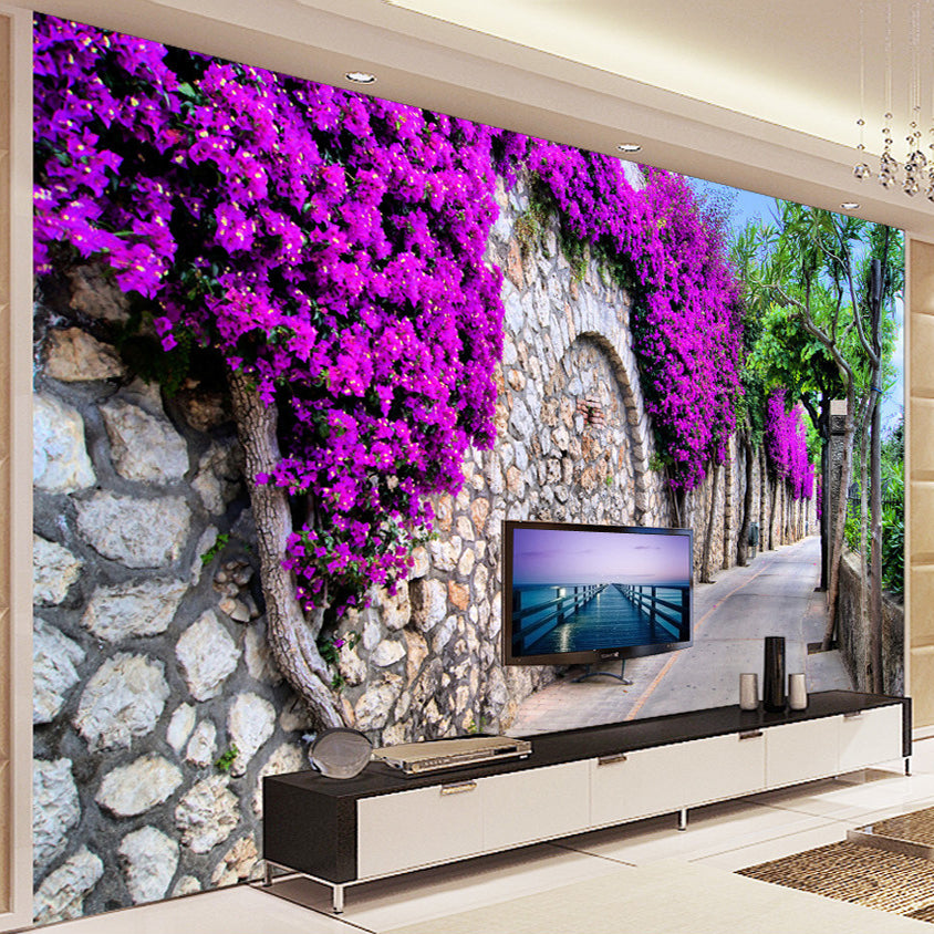 Custom Photo Wallpaper European Small Town Street Purple Flower Wall Painting Pictures Living Room TV Background Wallpaper Mural - SallyHomey Life's Beautiful