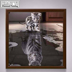New Handicrafts Cat Reflection Tiger 5D Diy Diamond Painting Cross Stitch Animal Diamond embroidery Mosaic European Home Decor - SallyHomey Life's Beautiful