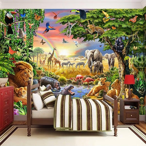 3D Cartoon Lion Zebra  Wall Painting - SallyHomey Life's Beautiful