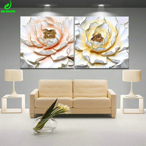 Wall Art 3D- Lotus canvas painting - SallyHomey Life's Beautiful