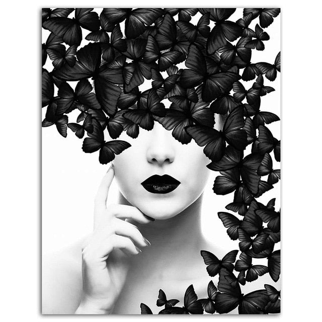 Butterfly Woman Wall Art Canvas Prints - SallyHomey Life's Beautiful