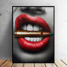 Load image into Gallery viewer, 🔥Sexy Red Lips Bite Bullet and Money Modern Canvas Printing - Unframed - SallyHomey Life's Beautiful