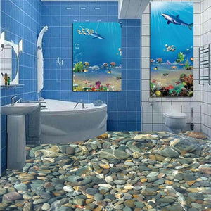 3D  Bathroom Flooring Painting - SallyHomey Life's Beautiful