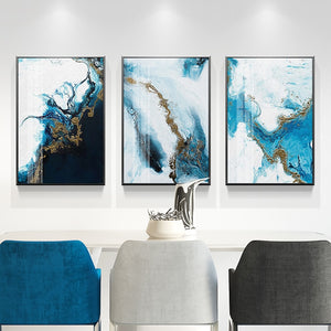 Nordic Abstract color spalsh blue golden canvas painting poster and print unique decor wall art pictures for living room bedroom - SallyHomey Life's Beautiful
