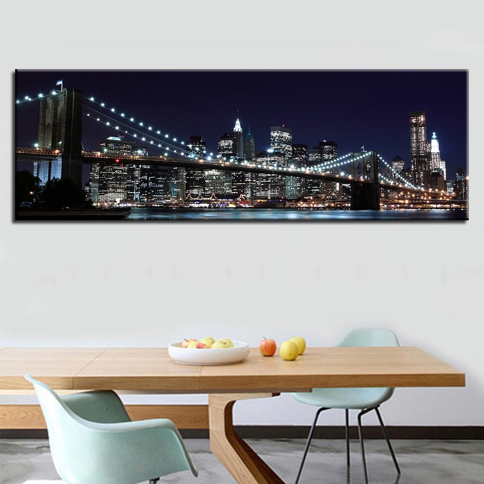 Modular Pictures Poster 1 Pcs New York Brooklyn Bridge Modern Prints Home Decoration Wall Art Canvas Painting For Gift Artwork - SallyHomey Life's Beautiful