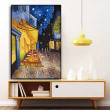 Load image into Gallery viewer, Famous Van Gogh Cafe Terrace At Night Oil Painting Reproductions on Canvas Posters - SallyHomey Life's Beautiful
