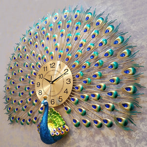 Large Peacock  Digital Wall Clocks - SallyHomey Life's Beautiful