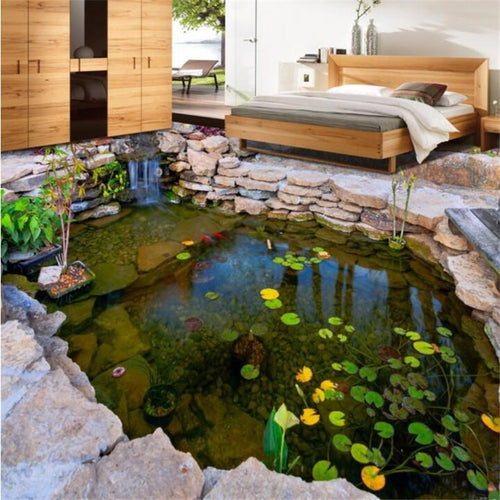 beibehang Custom floor painting 3d self-adhesive floor pond river pond stone rockery lotus leaf bedroom floor painting wallpaper - SallyHomey Life's Beautiful