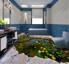 Load image into Gallery viewer, beibehang Custom floor painting 3d self-adhesive floor pond river pond stone rockery lotus leaf bedroom floor painting wallpaper - SallyHomey Life's Beautiful