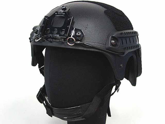 Integrated Ballistic Helmet (IBH) with NVG Mount and Side Rail-Black