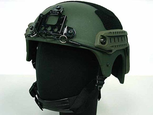 Integrated Ballistic Helmet (IBH) with NVG Mount and Side Rail-OD