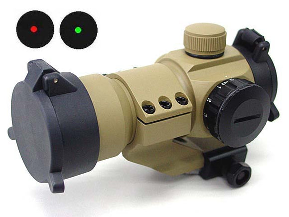 Red Green Dot Sight Scope w/Cantilever Mount-Tan