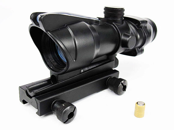 Battery/Optical Fiber Red Illuminated Dot Sight (Dual Power) - Black