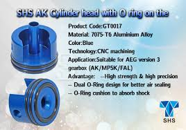 SHS CNC cylinder head for AK (Short) with O ring  - Blue - GT0017